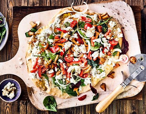 Bunte-Salatpizza