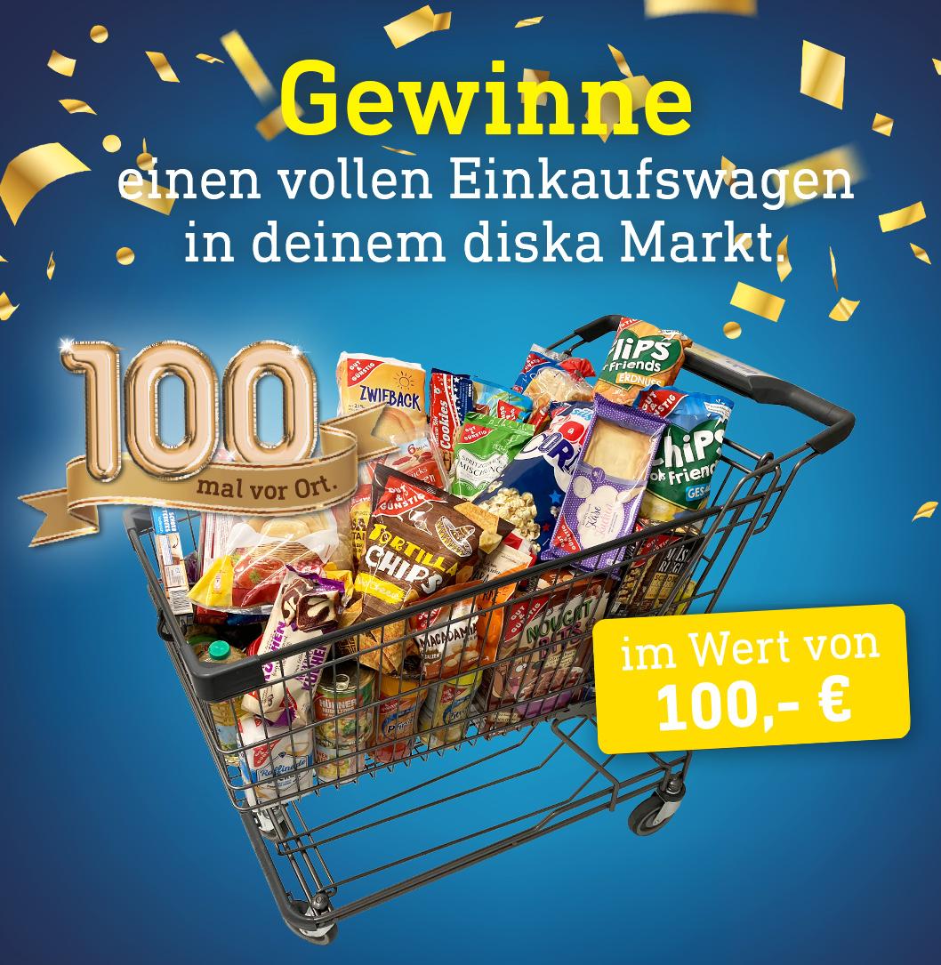 diska-Einkaufswagengewinnspiel